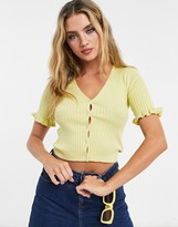 Thumbnail for your product : Monki Salma short sleeve cardigan in yellow