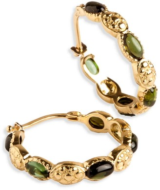 Hania Kuzbari Jewelry Designs Freestyle Earrings With Green Oval Cabochon Tourmaline