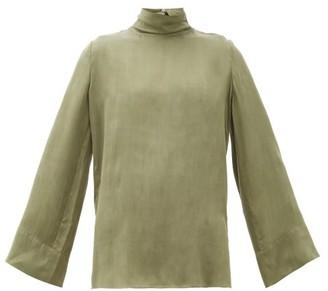Worme - The High Neck Sandwashed-silk Blouse - Khaki