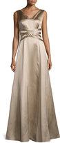 Kay Unger New York Sleeveless V-Neck Satin Gown, Mocha