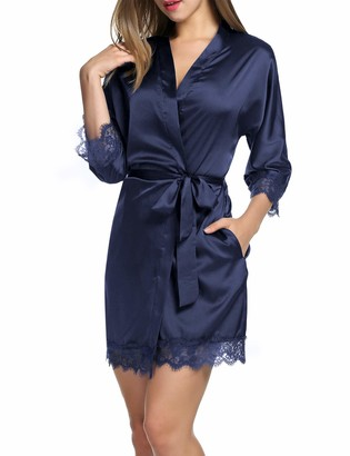 Balancora Women's Dressing Gown Satin Sexy Kimono with Pockets Short Robe with Belt Nightdress for Bride Sleepwear with Floral Lace - Blue - S