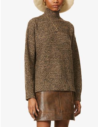Ganni G-embroidered turtleneck wool and cashmere-blend jumper