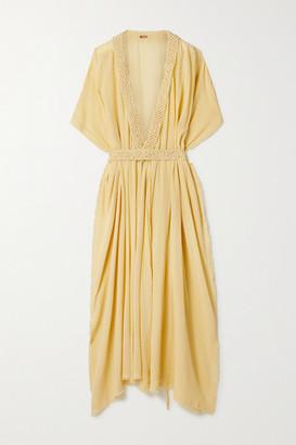 CARAVANA + Net Sustain Paqari Belted Crochet-trimmed Cotton-gauze Maxi Wrap Dress - Pastel yellow