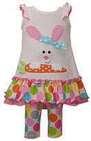Bonnie Jean Bonnie Baby Girls 12-24 Months Easter Bunny-Appliqued Dress & Large-Dot Leggings Set