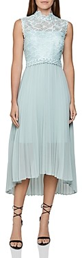 Reiss Aideen Mixed-Media Pleated Midi Dress
