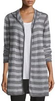 Eileen Fisher Hooded Two-Tone Striped Cardigan, Ash/Dark Pearl