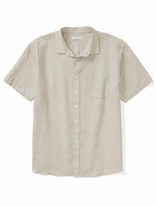 Amazon Essentials Men's Big & Tall Short-Sleeve Linen Cotton Shirt fit by DXL