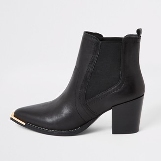 River Island Womens Black leather western chelsea boots