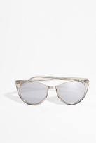 Linda Farrow Luxe White Gold Half Rim Sunglasses