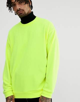 Asos Design DESIGN oversized sweatshirt in neon yellow