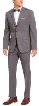 Perry Ellis Men's Slim-Fit Stretch Gray Plaid Suit
