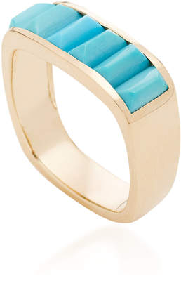 Jane Taylor Cirque Medium Baguette Square Stacking Band with Turquoise