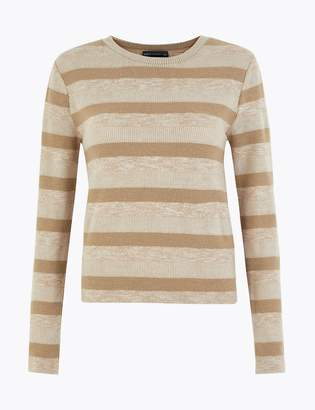 Marks and Spencer Sparkly Striped Straight Fit Sweatshirt