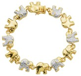 Yellow Gold and Fine Silver Plated 2-tone Bronze Diamond Accent Elephant Bracelet, 7.25""