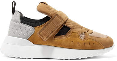 Tod's Suede, Leather And Mesh Sneakers - Tan