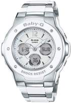 Casio Baby G Pretty Tough White Dial Stainless Steel Bracelet Ladies Watch