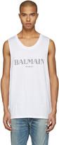 Balmain White Logo Muscle T-Shirt