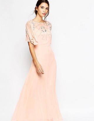 Asos Embellished Flutter Sleeve Maxi Dress