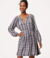 LOFT Plaid Smocked Sleeve Shirtdress