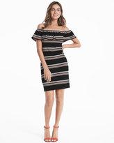 White House Black Market Off the Shoulder Flounce Striped Shift Dress