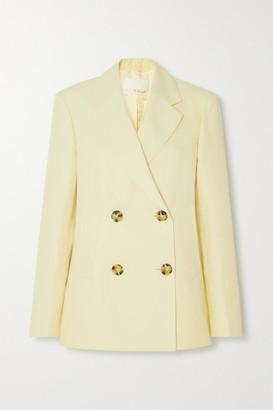 REMAIN Birger Christensen Debbie Double-breasted Cotton And Linen-blend Blazer - Pastel yellow