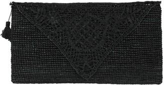 Arielle Black Handmade Lace Raffia Clutch Bag