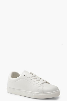 boohoo Lace Up Flat Trainers