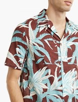 Valentino Brown Palm Print Bowling Shirt