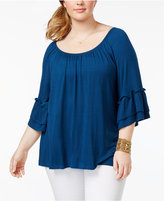 ING Trendy Plus Size Bell-Sleeve Top