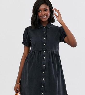 Asos DESIGN Maternity denim mini shirt dress with collar in black