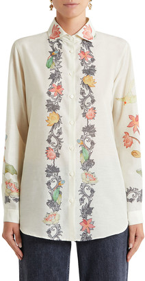 Etro Trellis Border-Print Jungle Shirt