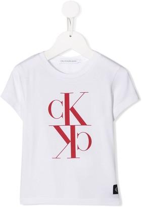 Calvin Klein Kids monogram logo print T-shirt