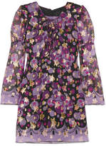 Anna Sui Curtain Of Stars Metallic Fil Coupé Silk-blend Mini Dress - Purple