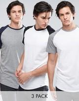 Jack & Jones Originals Contrast Raglan T-shirt 3 Pack