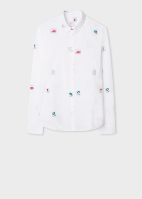Paul Smith Women's Slim-Fit White 'Stamps' Print Shirt