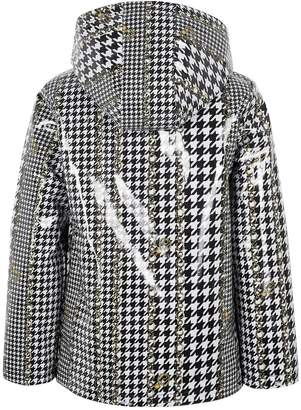River Island Girls dogtooth check print rain mac - black/white