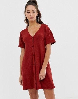 Asos Design DESIGN marl rib button through swing dress-Red