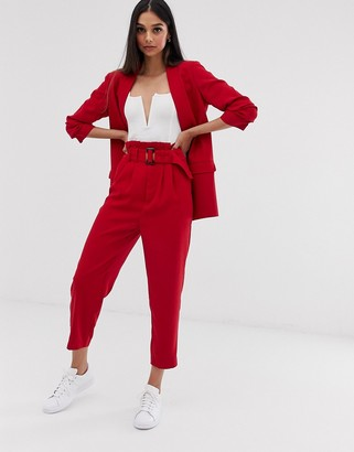Stradivarius co ord belted tailored trousers in red