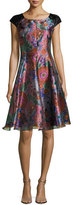 Armani Collezioni Floral Jacquard Cap-Sleeve Fit & Flare Dress, Multicolor