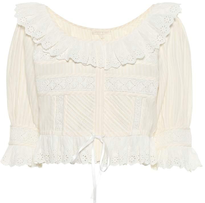 LoveShackFancy Tiana frilled cotton top