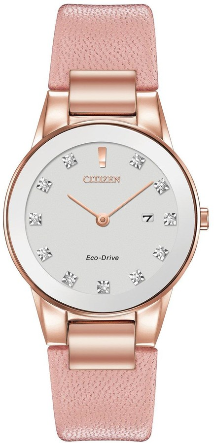 Citizen Eco-Drive Axiom Diamond Pink Leather Strap Ladies Watch