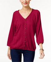 Style&Co. Style & Co. Petite Button-Detail Blouson Top, Only at Macy's