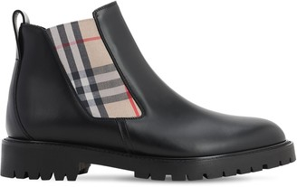 Burberry LEATHER CHELSEA BOOTS W/ CHECK ELASTIC
