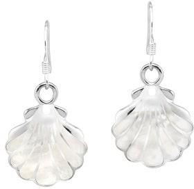 Aeravida Handmade Summer Glow SeaShell Sterling Silver Dangle Earrings