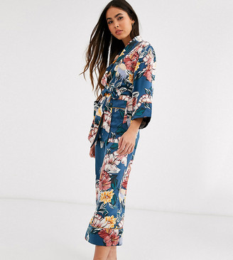 Lindex Exclusive Mira floral cropped pyjama bottoms in dark turquoise-Blue