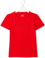 Armani Junior logo print T-shirt - kids - Cotton/polyester - 14 yrs