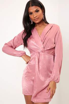 I SAW IT FIRST Rose Pink Satin Twist Front Collared Dress