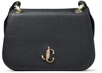 Jimmy Choo VARENNE CROSSBODY/M Black Calf Leather Cross Body Bag with JC Emblem