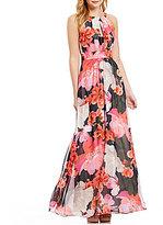 Vince Camuto Halter Keyhole Maxi Vibrant Floral Dress