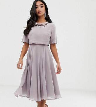 Asos DESIGN Petite midi dress with 3D embellished neckline-Grey